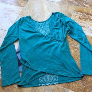 PrAna breathe teal faux wrap fitted long sleeved